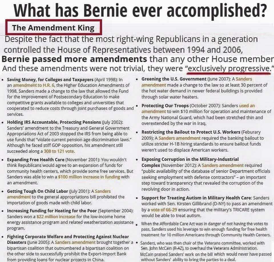 Bernie's Accomplishments